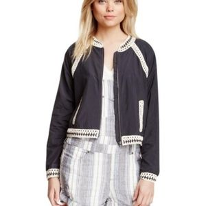Free People Crochet Insert Gray Bomber Jacket